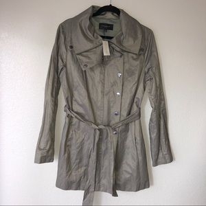 NWT Ann Taylor olive green trench coat